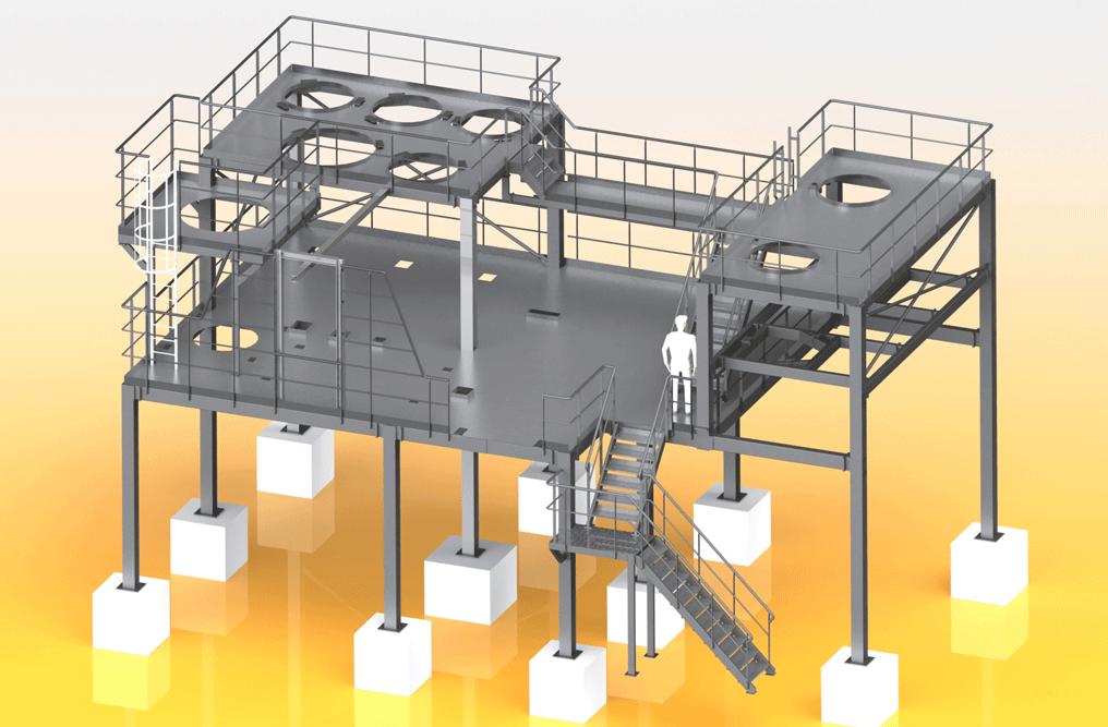 4- Vue 3D - Plateforme metallique-min