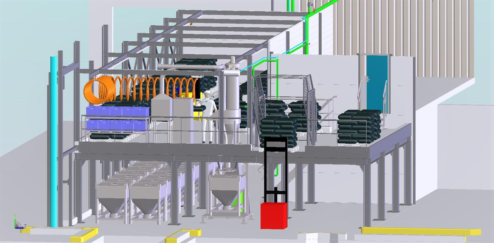 Construction local de préparation dosage d'arômes<br>Implantation détaillée/définition plateforme