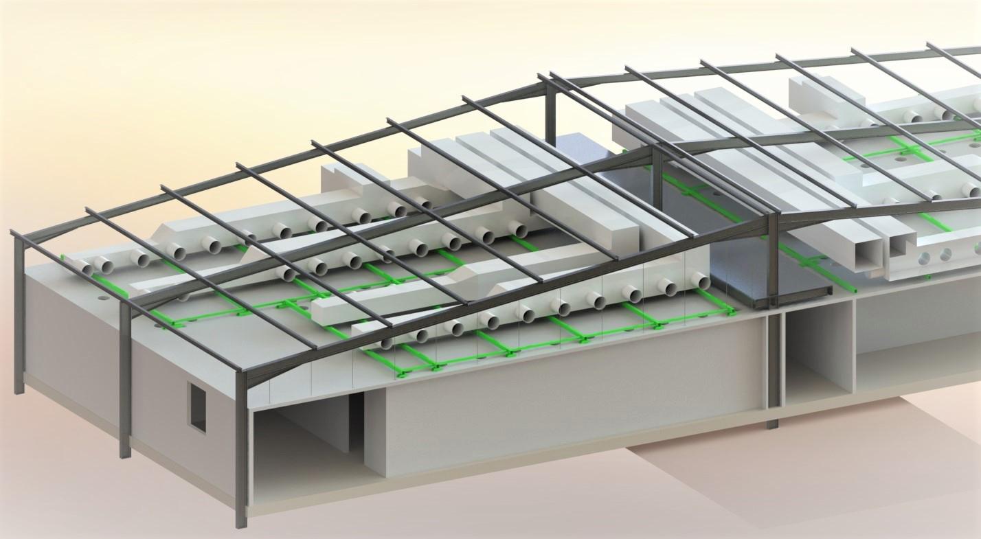 Intégration CVC dans bâtiment existant<br>Dimensionnement renforts de charpente