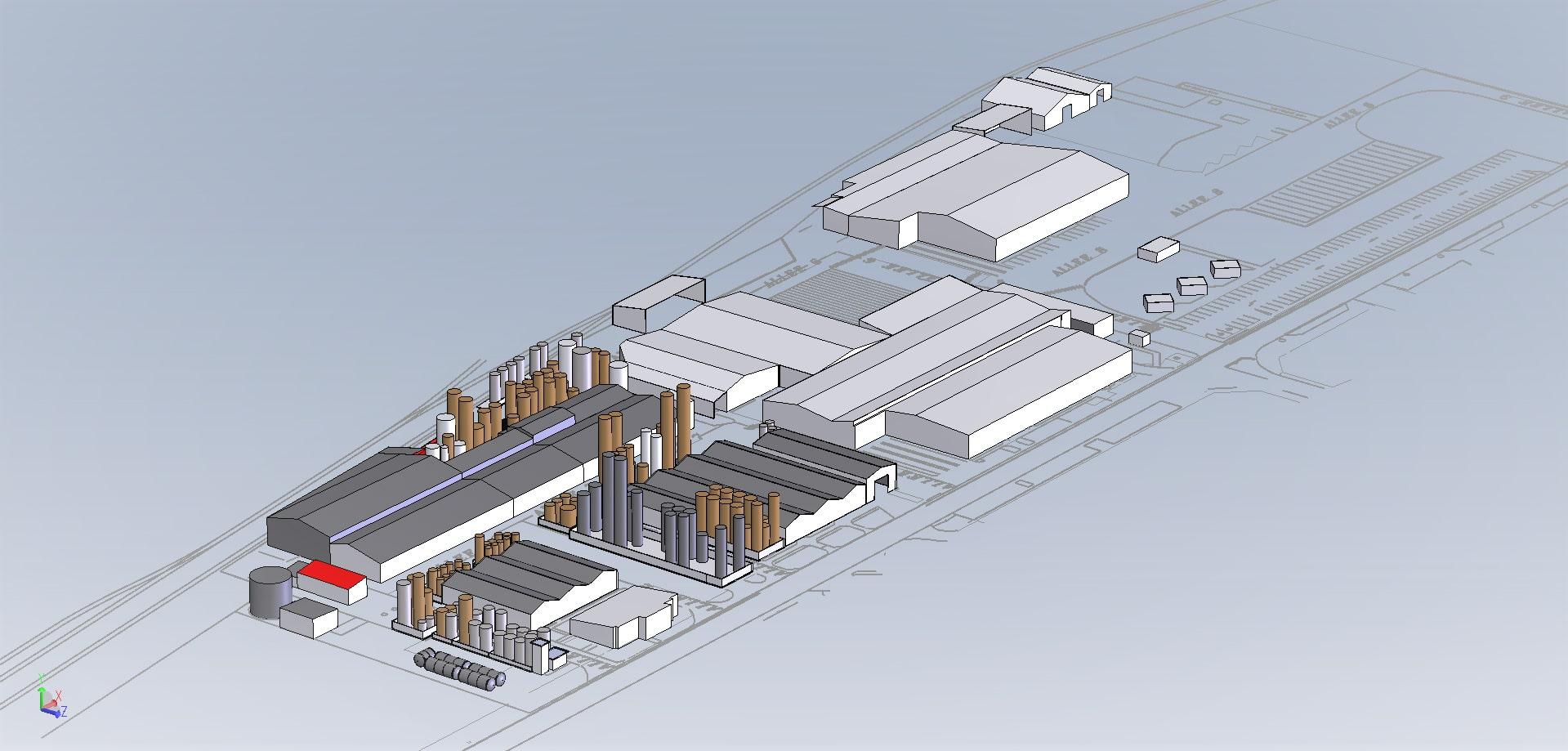 Modélisation site industriel<br>pour plan directeur