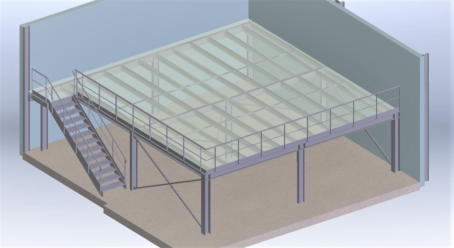 Conception mezzanine de stockage<br>dimensionnement ossature et platelage