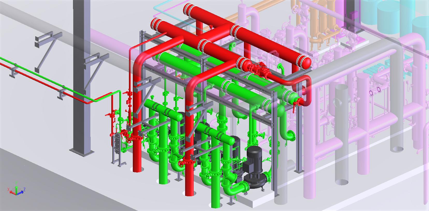 Construc. distibution eau sanitaire d'un hopital<br>Implant. générale/dossier d'exé. lot tuyauteries