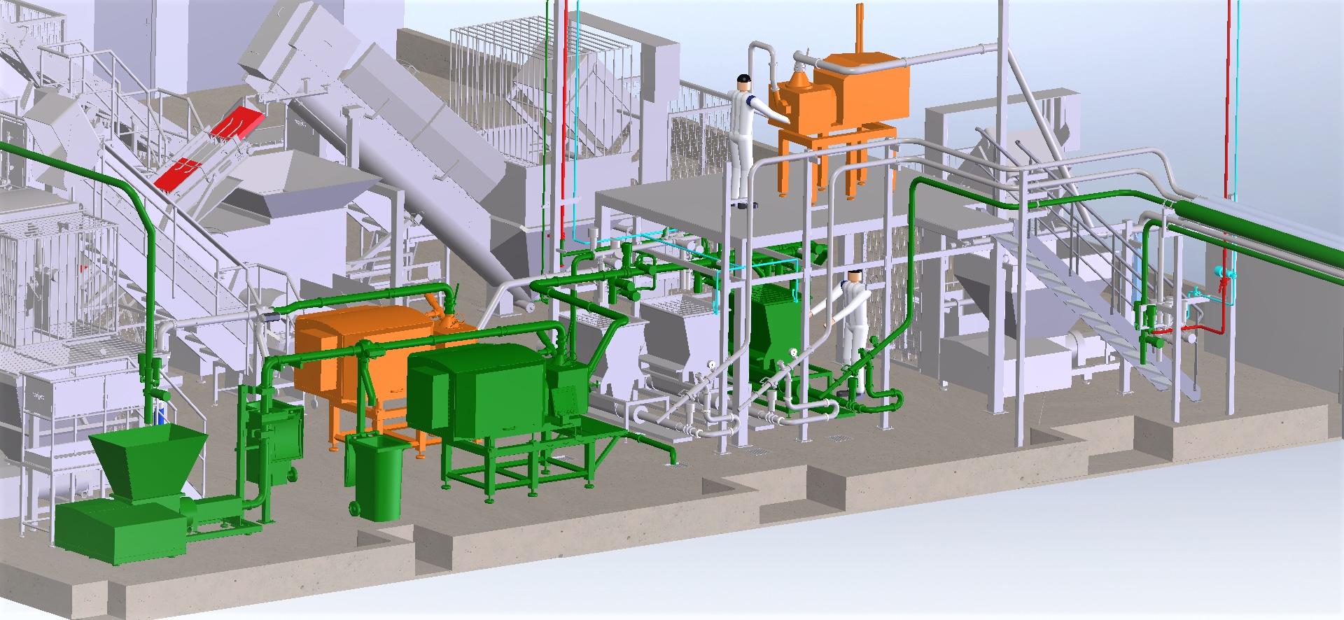Construc. ligne d'affinage produit secs<br>Implantation détaillée
