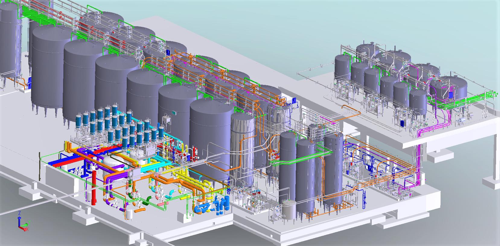 Hall réception préparation usine embouteillage<br>Implant. générale/dossier d'exé. lot tuyauteries