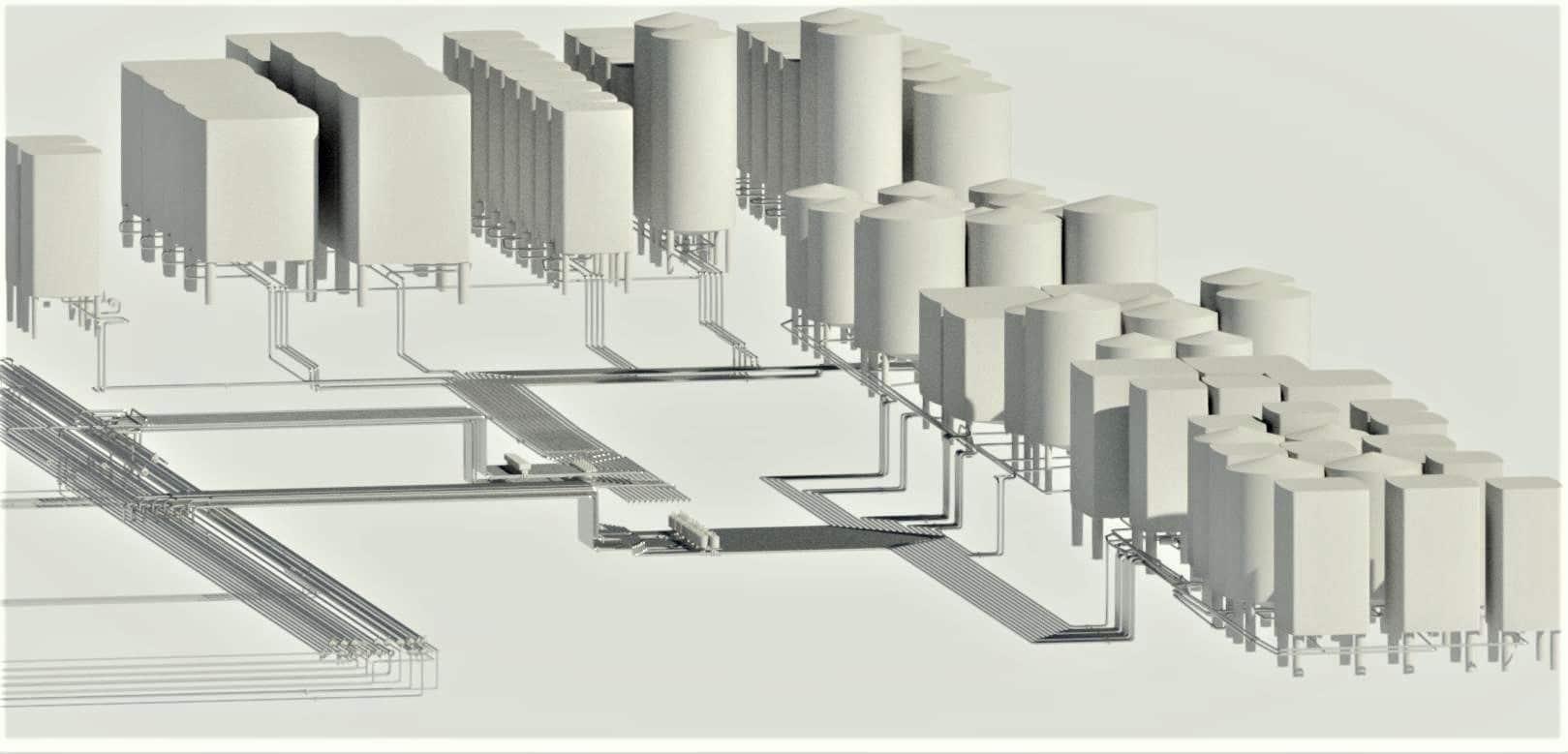 Ligne de distribution de produits finis<br>Relevés et modélisation 3D dans Revit